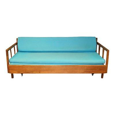 Mid Century Modern DAYBED SOFA vintage cloth wood couch danish pullout 50s/60s