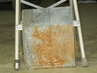 "Old Antique ( Metal )  tin ceiling tile / tiles 15""x12"" --fleur"