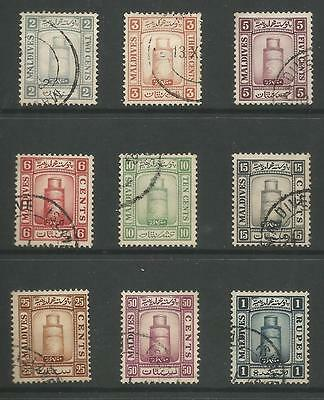 Maldive Islands The 1933  Set Of 9 Fine Used Cat £130,see Scans