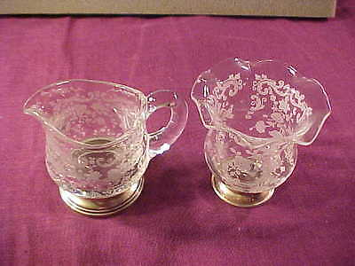 Cambridge Chantilly Etched Crystal Sterling Base Toothpick & Small Creamer MINT!