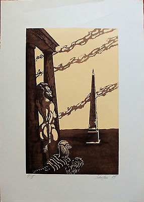 JAN LEBENSTEIN OBELISCO etching Handsigned  70x50 POLSKA dated 1985 pubblied