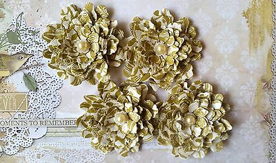 4 x Handmade Ruffled Gold Vintage Blossoms - Scrapbooking, Cards etc