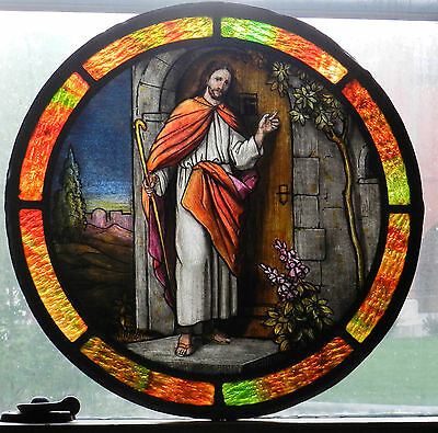 Antique Arts Crafts ROUND Stained Glass Window Christ Knocking Door Painting