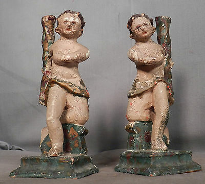 2 Antique Italian Provincial Carved Painted Gilt Wood Putti Angels Folk Art PAIR