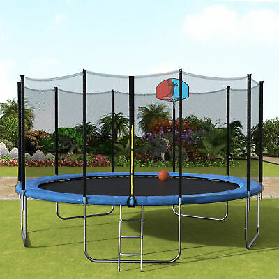 Merax 14FT Round Trampoline w/72PCS Springs And Enclosure Basketball Hoop&Ladder