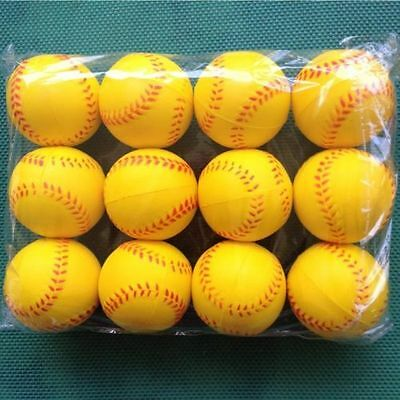 12PCS Yellow Sport Training Practice Baseball Elastic PU Foam Base Ball Softball