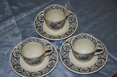 3 furnivals old chelsea coffee cups and saucers