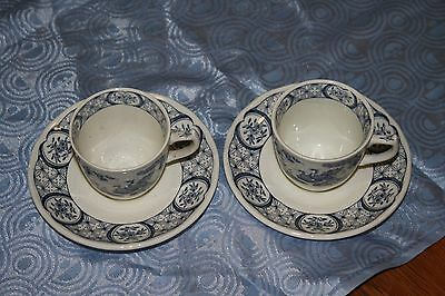 2 furnivals old chelsea coffee cups and saucers