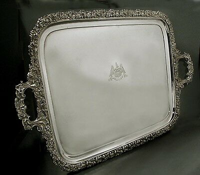 English Sterling Tea Tray    1827     COAT OF ARMS            188 Oz.