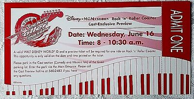 Rare 1999 Disney Mgm Studios Rock 'n' Roller Coaster Cast Preview Unused Ticket