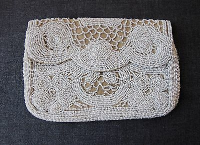 Antique 1920's Art Deco Flapper White Hand Beaded Beige Silk Clutch Purse