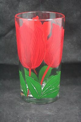 """Vintage Boscul Peanut Butter Glass - Red Tulip - Floral - 5"""" High"""