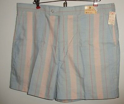 Mens VTG '80s Striped Club Shorts Preppy Cotswold Old Stock Zayre Sales Tags 38
