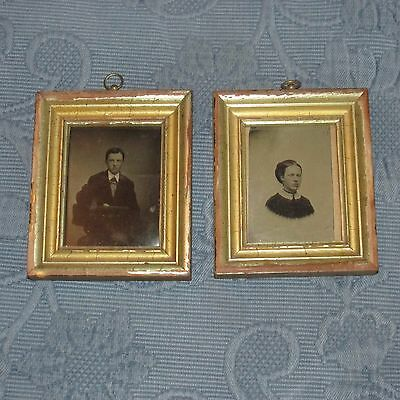 Pair of Antique Victorian Gold Picture Frames & Man & Woman Tintype Photos