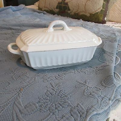 Antique White Ironstone 2-Handled Covered Casserole Tureen with Lid, L.S. Co.