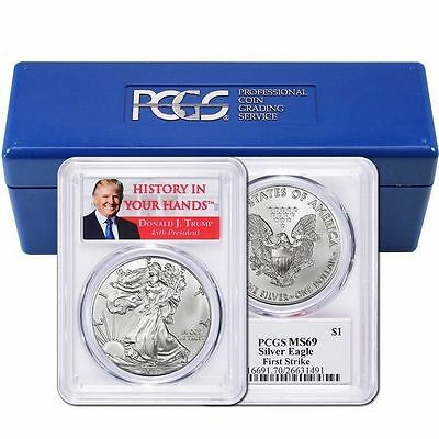 2017 1oz Silver Eagle PCGS MS69 - First Strike - Donald Trump - 20 Pack
