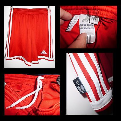 ADIDAS Climalite Red w/White Stripes Workout Athletic Gym Shorts Sz L Youth EUC