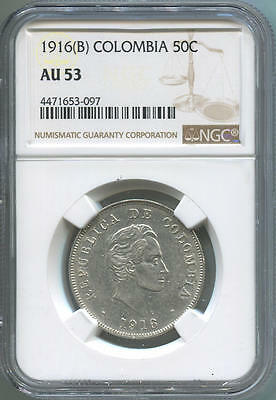 1916 (B) Colombia 50 Centavos Silver. NGC AU53.