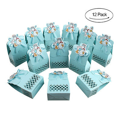 12X Duck Pattern Baby Shower Gift Favor Boys 1st Birthday Party Candy Boxes Blue