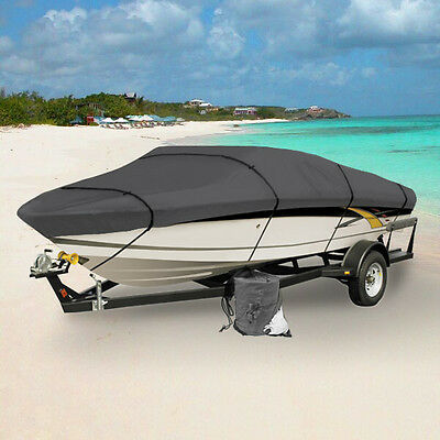 New Gray Heavy Duty 20Ft - 22Ft Trailerable Boat Storage Cover With Elastic Hem