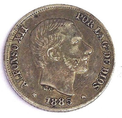 1885 Philippines 10 Centimos, Spanish Empire silver coin, XF