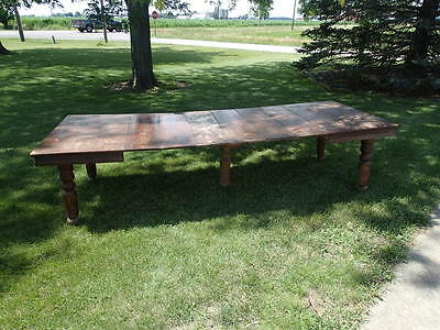 LARGE 10 ft Gorgeous Antique Solid Oak FARM HOUSE Dining Table c1900 6 leaves