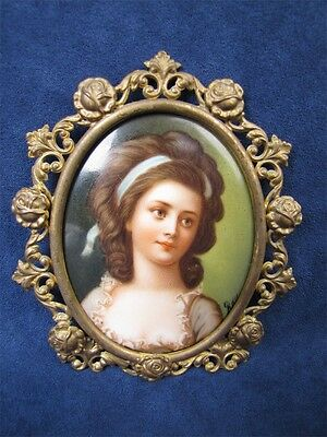 Large Antique  Victorian Hand Painted Signed Portrait Cameo Brass Frame