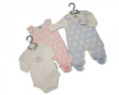 New Baby Boy Girl Twins Dungarees Bodysuit 2 Pc Set 7-8lbs NB 0-3 Months BNWT