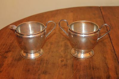 Sterling Silver Creamer and Sugar 140 grams. Colonial Simple Design