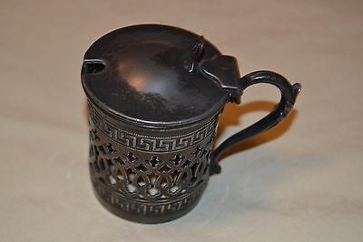 """2-1/2"""" Antique Ornate Silver/Pewter Plate Cup-Sugar Bowl w/Top & Handle-No Liner"""