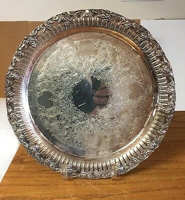 "Vntg Benedict MFG Co Silver Plate Pierced 12"" Serving Tray w/ Grape Design"