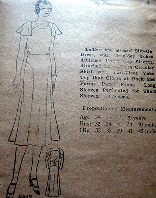 RARE VTG 1930s DRESS Sewing Pattern 16/34 OLD DEADSTOCK