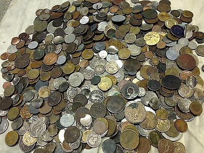 Huge 10 lbs of Damaged & Cull  FOREIGN / World Coins & US tokens WYSIWYG LOT #21