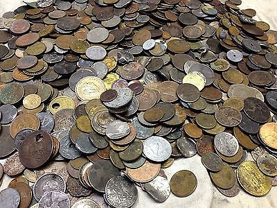 Huge 10 lbs of Damaged & Cull  FOREIGN / World Coins & US tokens WYSIWYG LOT #22