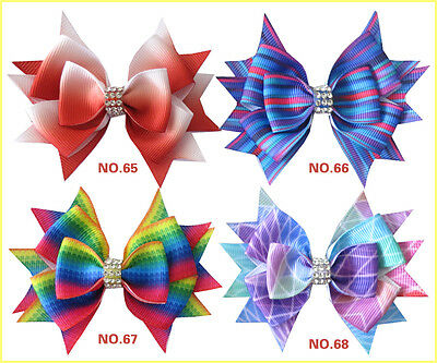 "30 BLESSING Good Girl Boutique 3.5"" Rainbow Stylish Hair Bow Clip"