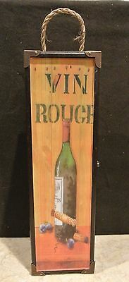 Wood Hinged & Latched Single WINE BOTTLE BOX / Carrier / Decor VINO ROUGE