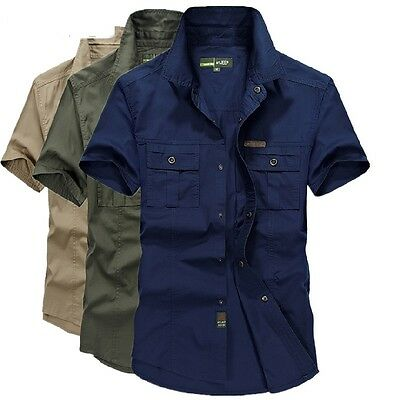 Men Cotton Military Casual Shirts Short Sleeve Double Pockets Shirts Plus Size