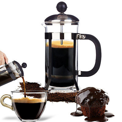 350ML French Press Coffee Plunger Maker Leaf Carafe Stainless Steel Filter Jar