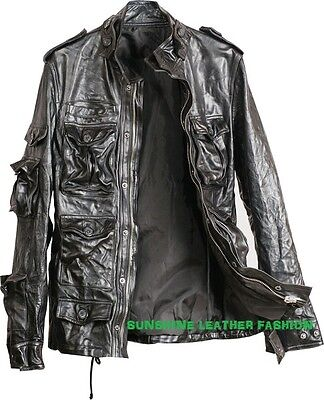 Mens Leather Jacket Vintage Look Black New Size 6XL