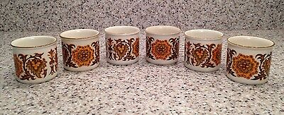 "Vintage MIDWINTER England WOODLAND Pattern 1 7/8"" SINGLE EGG CUPS Set of 6"