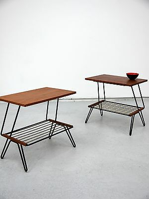 1970s VINTAGE ORIGINAL PAIR OF SWEDISH TEAK AND WIRE BEDSIDE TABLES COOL DANISH