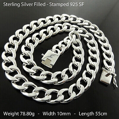 Mens Necklace Chain Real 925 Sterling Silver S/F Solid Heavy Curb Cuban Design