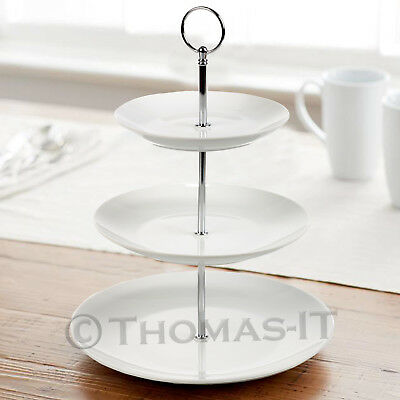 3 Tier White Ceramic Round CAKE STAND Wedding Party Serving Display Rack Holder