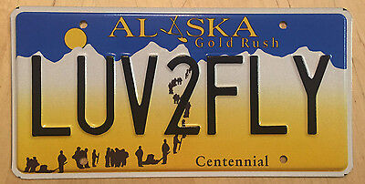 """ALASKA  VANITY License Plate  """" LUV2FLY """" LOVE TO FLY FLYING PILOT AIRPLANE JET"""