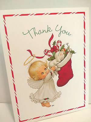 Ruth Morehead Christmas Note Card Angel Kitten Stocking Thank You Unused Vintage