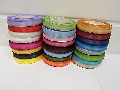 9mm Sheer Organza Ribbon 2 metres or 25 metre roll double sided 9 mm UK VAT Reg
