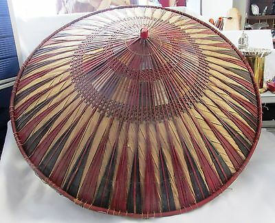 """Vintage oriental original coolie hat 2ft across and about 10"""" high"""