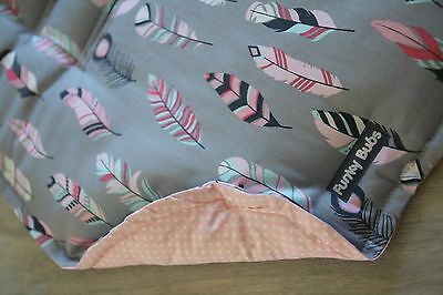 "Reversible Pram Liner & Strap Cover Set ""Pastel Feather"" & ""Pink Dotty"" Print."