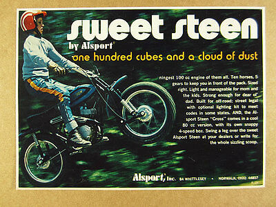 1973 Alsport STEEN 100cc Motorcycle off-road cycle photo vintage print Ad