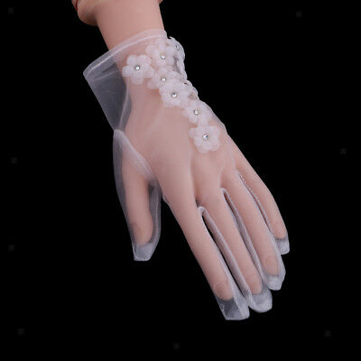 Wedding Party Short Tulle Bridal Wrist Floral Gloves Wedding Accessory